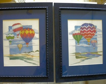 Paul Brent - A Pair of  Hot Air Ballooning Framed Watercolor Prints with Blue Mat and Frame