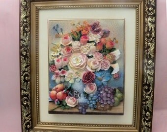 Alabaster 3-D Floral 13 x 15 Framed Design With Beige Border in a Gold and Brown Frame - RARE