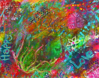 Hippie Print, Fine Art Prints. 16x20 Print, Peace Art, Housewarming Gift, Wall Hanging art, Vibrant Art, Archival Print Art, Mixed Media Art