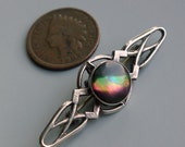 Art Nouveau Sterling Iridescent Shell Brooch