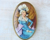 Vintage Lady in Blue Portrait Brooch