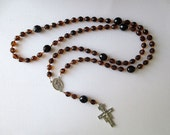 Franciscan Crown Rosary in Tortoise Shell Glass Beads with Saint Francis/ Saint Anthony Center and San Damiano Cross