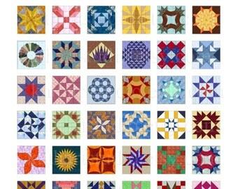 Instant Download - Quilt Blocks Collage Sheet - .75 x .83 inch rectangles for pendants, stickers, scrabble tiles, scrapbooking. 92