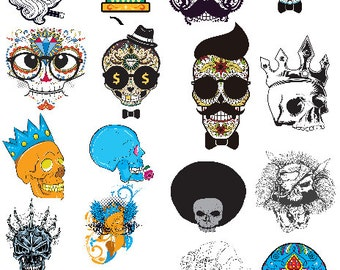 16 Skull Vector Element-Digital ClipArt-Art Clip-Halloween-Gift Tag-Notebook-Party--Scrapbook-banner-background-gift card.