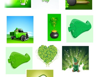St Patricks Day A3-A1-A4-A2-Digital Clipart-Banner-Website-Gift Card-Gift Tag-Background