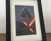 ORIGINAL | Star Wars Kylo Ren | 3.5x5 Framed Acrylic Painting | Flimflammery