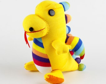 Handmade Yellow Sock Dragon Stuffed Animal Doll Baby Gift Toys Birthday Gift Christmas Gift New Year Gift
