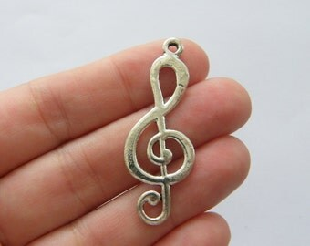 BULK 20 Music note charms antique silver tone MN32