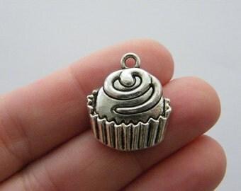 4 Cupcake charms antique silver tone FD199