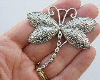 BULK 5 Dragonfly pendants silver tone A408 - SALE 50% OFF