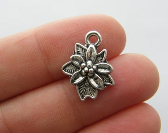 10 Flower charms antique silver tone F149