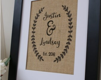 Free US Shipping...Personalized Laurel Wreath Rustic Wedding Burlap Print. Great for wedding gift, engagement gift, anniversary gift!