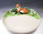 ceramic red fox in the garden footed dish or plate hand crafted pottery figurine by Anita Reay AnitaReayArt