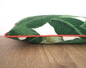Green tropical palm leaf pillow cover Palm Beach Decor, outdoor bench cushion botanical print green and coral decor