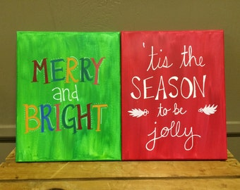 4 hand-painted Christmas canvases