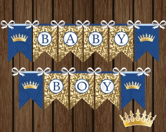 Prince Baby Boy Banner, DIY Prince Baby Shower Banner, Shower Printable, Baby Shower Decorations, Royal Crown Instant Download