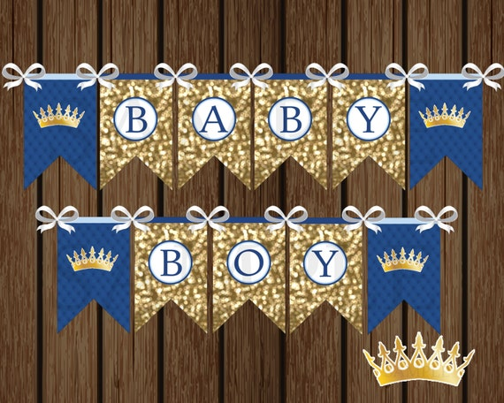 Prince baby boy banner diy prince baby shower banner shower for Baby shower decoration singapore