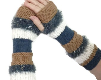 Fingerless Gloves, Knit Gloves, Texting Gloves, Denim Blue, Brown And White, Girls, Womens, Fiber Art, Arm Warmers