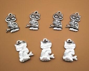 10 pcs 22mm Owl Charms - Antique Silver, Owl Pendants, Metal Charms, Alloy Charms, Metal Pendants