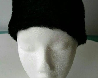 Fake Fur Black Hat with Leather Inside