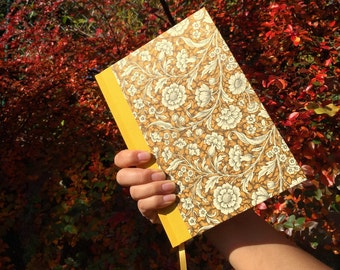 large day planner 2018, Renaissance Flower brown yellow A5 diary, spacious one day one page agenda