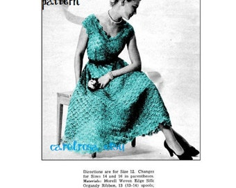 Vintage Crochet Pattern - Organdy Lace Dress - 12, 14, 16 and 18 sizes