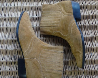 1980's, suede cowgirl boot, women's size 8 1/2