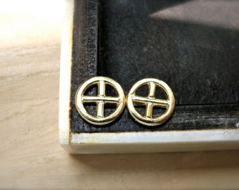 Sun cross earrings studs sterling silver 18K yellow gold plating - Cross silver studs  timeless womens earrings - Unique gift idea for her