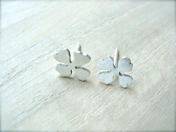 Cross earrings silver studs clover earrings - Hand crafted jewelry womens earrings - Four leaf clover earring studs luck jewelry