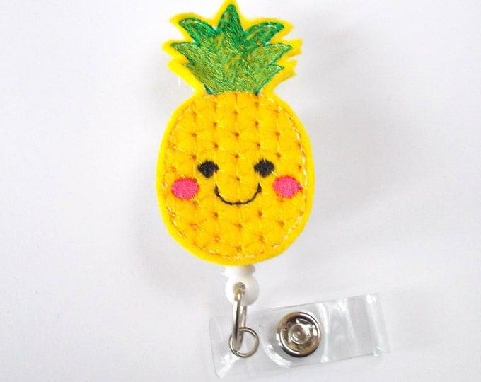 Pineapple Badge Holder - ID Felt Badge Holder - Hawaii Badge Reel - Nurses Badge Holder - Fruit Badge Reel - Dietitian Badge - RN
