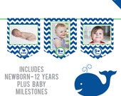 INSTANT DOWNLOAD Whale Party - DIY printable photo banner kit - Includes Newborn through 12 Years, Plus Baby Milestones