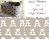 Diaper Caddy, Teddy Fabric Basket bin with adjustable and removable dividers Tan