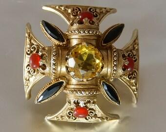 Florenza Maltese Cross Brooch Large Gems Costume Jewelry Book Piece 1960s