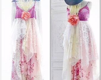 Stevie Nicks Style Velvet Gypsy Dress, 24 Karat Gold, boho clothing, Retro 70s sundress, Gypsy soul lace dress, Dresses, True rebel clothing