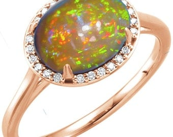 AAA Oval Crystal Opal & Diamond Unique Engagement Ring, Statement Ring, Cocktail Ring, October Birthstone Ring, Gold Opal Ring