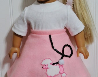 """Pink felt POODLE Skirt and Shirt fits 18"""" Dolls  - Proudly Made in America by mamastwinsees"""