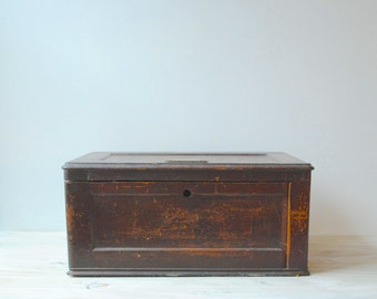 Vintage Wood Box Chest / Tool Box Storage Chest
