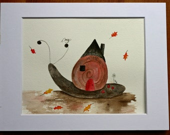 Snail, original watercolor, home, snail house, pink and grey, autumn, kitchen art, children's art, whimsical, red door, welcome, shell