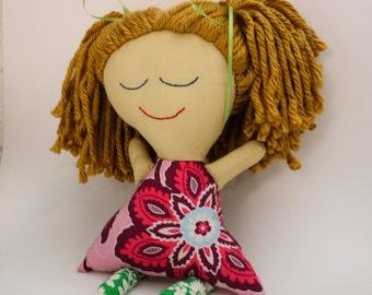 Blonde Hair Rag Doll Ethnic Rag Doll. Ready to ship!