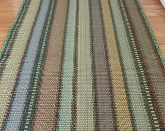 Cotton Rag Rug Runner Machine Washable  2' x 6' Striped Rug in Shades of Autumn Tan, Green, Gold, Sage