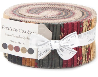 """Prairie Cactus Jelly Roll by Kansas Troubles Quilters for Moda Fabrics 9510JR 40 2.5"""" x 42"""" Fabric Strips"""
