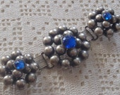 Vintage Buckle Blue Rhinestones Silvery Balls Book Chain Links