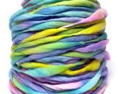 Super bulky handspun yarn, 55 yards and 3.2 ounces/93 grams, spun super bulky and thick and thin in merino wool