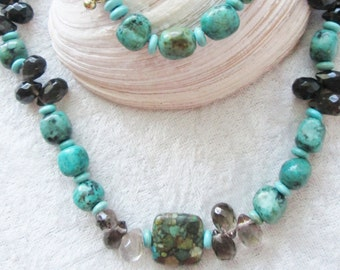 Turquoise ME Around Diva Necklace - Turquoise and Smokey Quartz Teardrop Gemstones - Magnesite Turquoise Beads - Chic and Classy - Cruise
