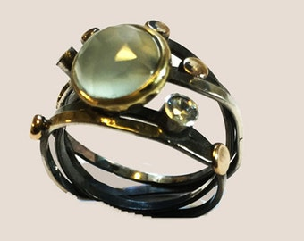 Silverring with aqua calcedony,ring with silver bronce and brass, prinsses ring, unique ring