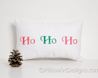 Christmas Pillow with Words Ho Ho Ho Red Green White Cotton 8 X 12 Made in Canada