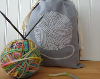 Hand Dyed Knitting Bag, Yarn Bag, Organic Linen Drawstring Bag, Cloth Gift Bag, Screen Printed with Yarn Design