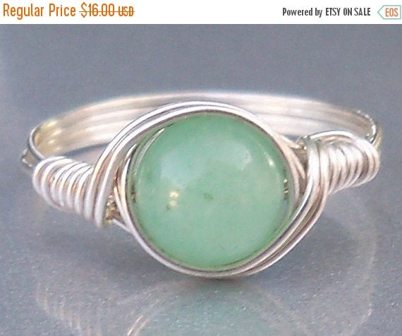 30% OFF Green Aventurine Argentium Sterling Silver Wire Wrapped Stone Ring
