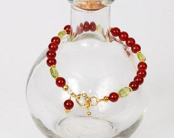 Carnelian and Peridot in Gold Vermeil Bracelet