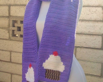 Cupcake Scarf - Purple Scarf for Women or Teenage Girls with White Cupcakes - Crochet Scarves - Crocheted Scarf - Warm, Soft, Long Scarf